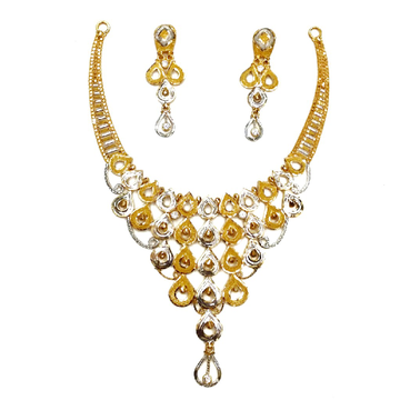 22kt Plain Gold Necklace Set MGA - GN073
