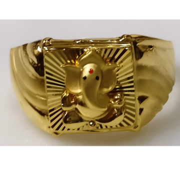 22kt gold plain casting lord ganesha fitting ring for gents