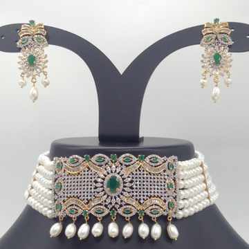Green,White CZ And Pearls ChokerSet With 6Line FlatPearls Mala JPS0547