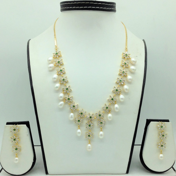 White, GreenCZ Stones And Tear Drop Pearls Necklace Set JNC0147