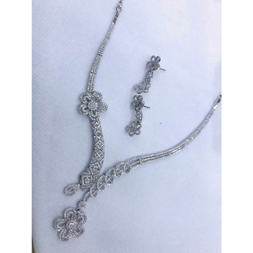 92.5 Sterling Silver 2(Two) Different Dezine In Single Half Rodiyam Necklace Set Ms-2791
