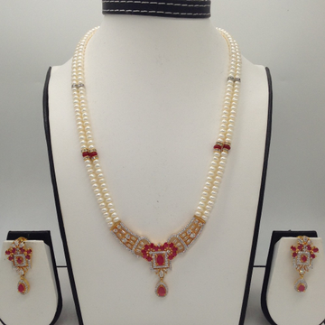 White and redcz pendentset with 2line flatpearls mala jps0306