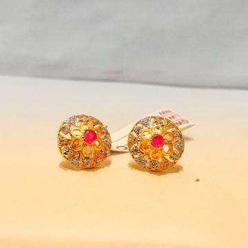 Gold 916 Hallmark Round Shape Earrings For Women by Pratima Jewellers