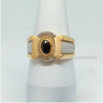 916 Gold Black Stone Diamond Gents Ring