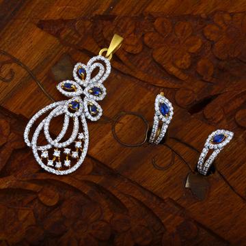 916 CZ Hallmark Gold Blue Stone Pendant Set
