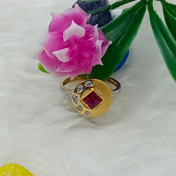 916 GOLD ROUND CZ LADIES RING by Ranka Jewellers