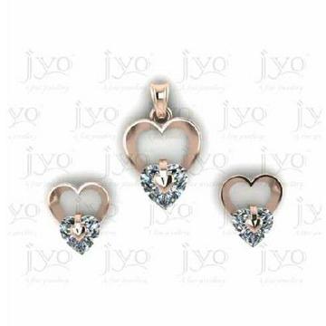 Single Stone Heart Shape Pendal Set