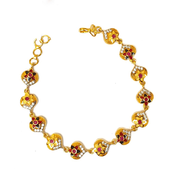 1 gram gold forming flower shape bracelet mga - bre0035