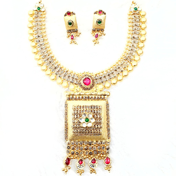916 gold antique necklace set mga - gn017