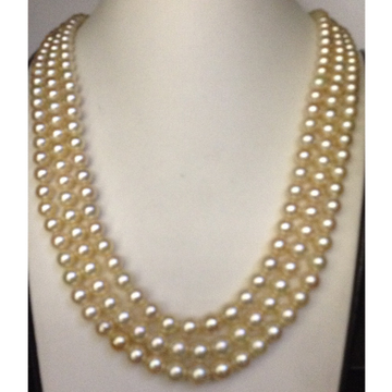 3 line cream sea water cultured pearls necklace