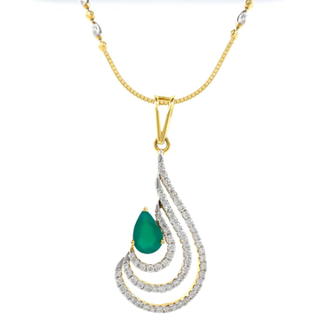 Green stone drop shape diamond pendant in 14k yell...
