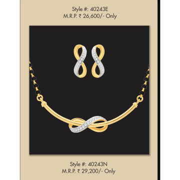 18kt, gold and diamond infinity patterned mangalsutra with earrings