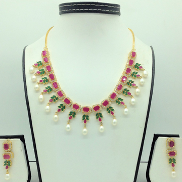 Multicolour CZ Stones And Freshwater Drop Pearls N...