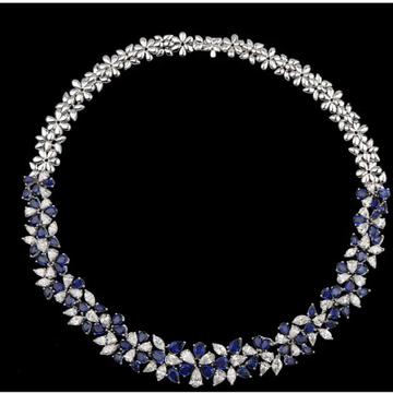 Diamonds and Blue Sapphires NecklaceJSJ0123