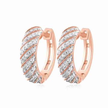 18KT Rose Gold Designer Round Diamond Earring