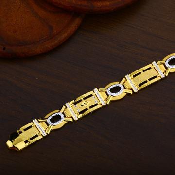 22K Gold Broad Plain Casting Mens Bracelet-MPB49