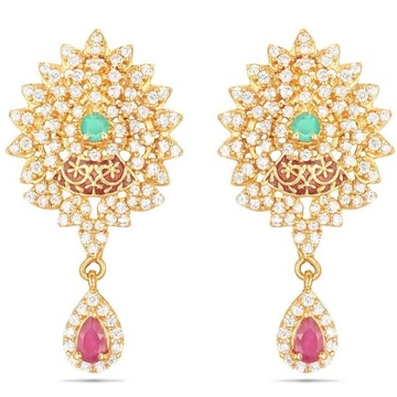 22kt, 916 Hm, Yellow Gold rounds Earrings with pink Diamonds Jke107.