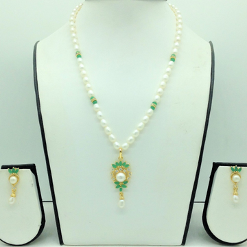 White and GreenCZPendentSet With 1Line OvalPe...