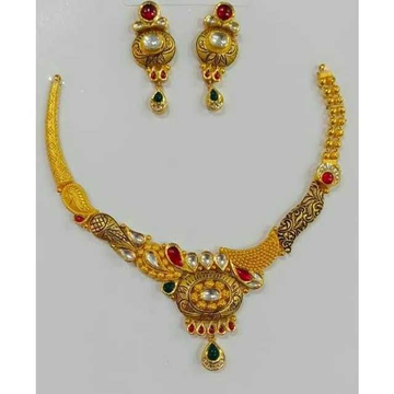22ct Antiq Gold Necklace Set by Vipul R Soni