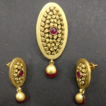 916 Gold Fancy Oval Shape Pendant Set BJ-PS003 by