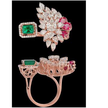 Diamonds Emeralds and Ruby RingJSJ0050