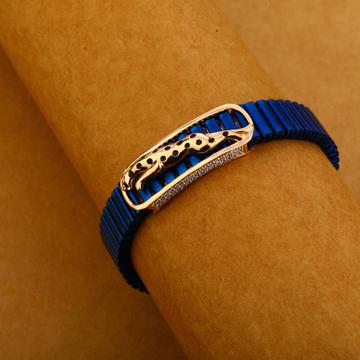750 Rose Gold Cz Stylish Leather Bracelet MLB307