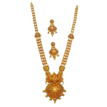 916 gold antique rajwadi necklace set mga - gls039