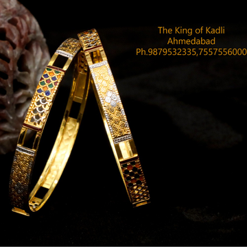 916 Gold Meenakari Double Pipe Copper Kadli Bangle