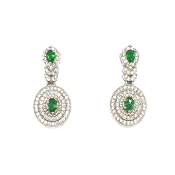 925 Sterling Silver Green Diamond Earring MGA - BTS0054