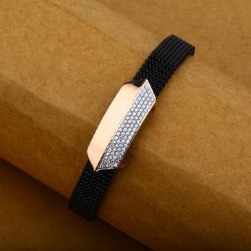 Mens 18K Rose Gold Spring Leather Bracelet-MLB15