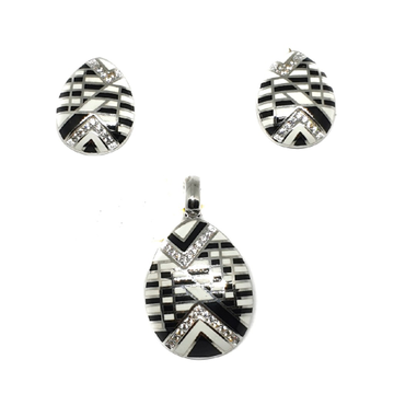 925 sterling silver black and white meenakari pendant set mga - pts0089
