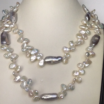 Freshwater White and Grey Chips Baroque Pearls Lon...