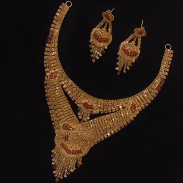 916 Gold Necklace Set For Wedding PO-N03