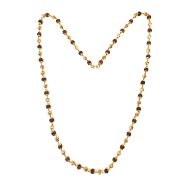 One Gram Gold Plated Vertical Para With Rudraksh Mala Chain MGA - MLE0031