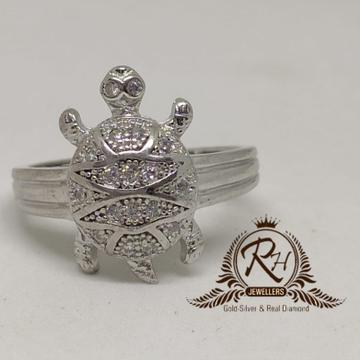 92.5 silver tortoise gents ring Rh-Gr944
