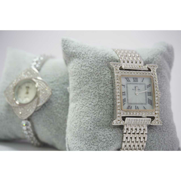 92.5 Sterling Silver Square Micro Dial Watch Ms-3909