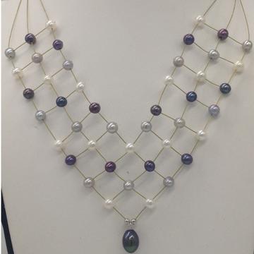 Freshwater multicolourpotatopearls 3 layers jaali wire necklace