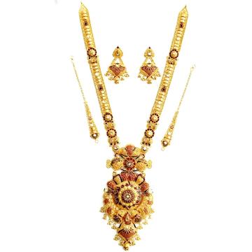 22k gold kalkutti long necklace set mga - gn0050
