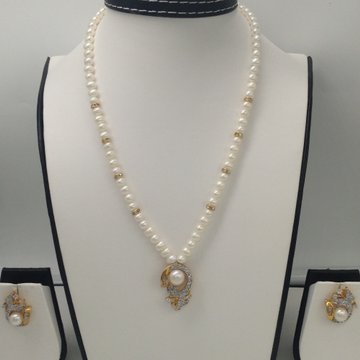 WhiteCZ And Pearls Pendent Set With PotatoPearls Mala JPS0024
