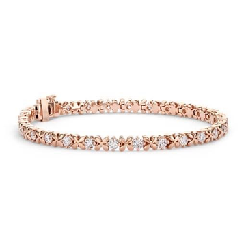18kt rose gold and diamond cross pattern double lock bracelet for women jkb042