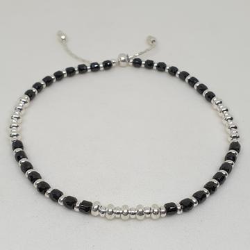 Silver Black Beads Anklet fcps/1126