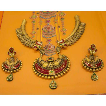 Indian Classic Jadtar And Meenkari Gold Necklace Set