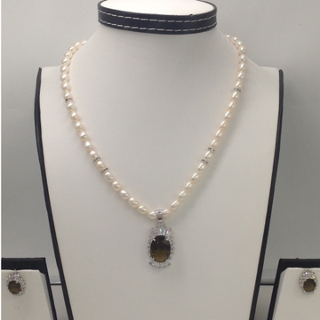 White and parrot green cz pendentset with ovalpearls mala jps0124