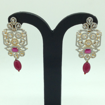 White and Red CZ Stones Ear Hangings JER0060