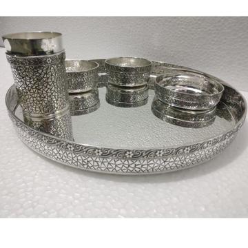 925 Pure Silver Designer Thali Set in Solid Work P...