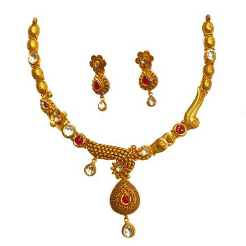22K Gold Antique Flower Shaped Half Necklace Set M...