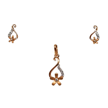18K Rose Gold Flower Shaped Modern Pendant Set MGA - PTG0151