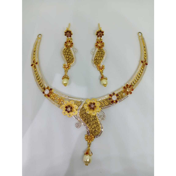 22kt gold fancy rodiuem necklace set bj-n15