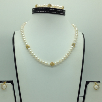 Freshwater White Potato Pearls And CZ Balls Necklace Set JPP1064
