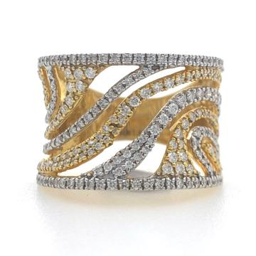 18kt / 750 yellow classic wave design diamond ladies ring 5lr682